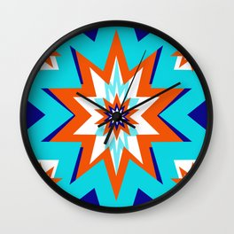 Star Graphic Blue and Orange Pattern Wall Clock