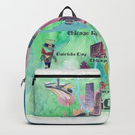 Chicago Favorite Map with touristic Top Ten Highlights in Colorful Retro Style Backpack