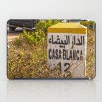 casablanca iPad Cases featuring Casablanca milestone with old Volkswagen microbus by Premium
