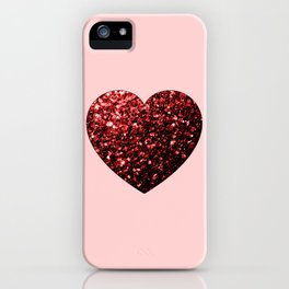 Red Glitter sparkles Heart iPhone Case