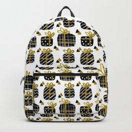 Black and Gold Giftboxes Pattern Backpack