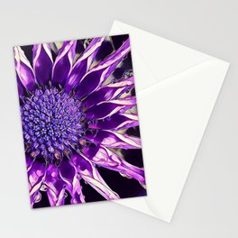 African Daisy in Manipulated Purple Stationery Cards