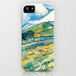 Mountain Lanscape behind the hospital saint paul by Vicent Van Gogh iPhone Case