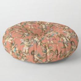 Stucco Cherubs in Terracotta Apricot Floor Pillow