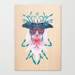 Butterfly White Orchid Tattoo on wood Canvas Print