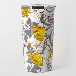 MUSICAL BUTTERFLIES FESTIVAL & YELLOW ROSE SCROLLS Travel Mug