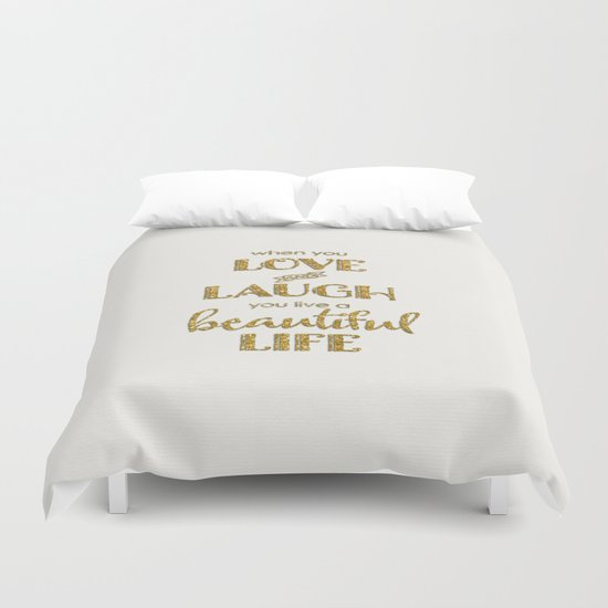 When you - Gold glitter typography on white backround Duvet Cover