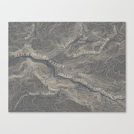 Yosemite Topo Map Canvas Print