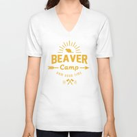 beaver V-neck T-shirts featuring Beaver Camp by Beaver Camp