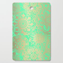 Spring Green and Gold Mandala Pattern Cutting Board