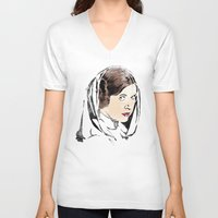 leia V-neck T-shirts featuring Leia by Hey!Roger