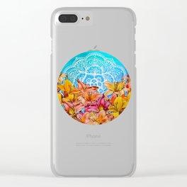 Orange Lilies & White Mandala on Blue Clear iPhone Case