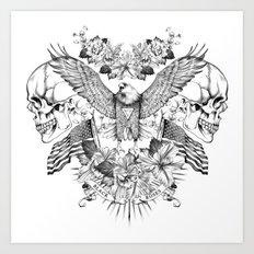 American Flower Skulls Art Print