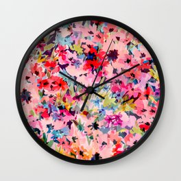 Little Peachy Poppies Wall Clock