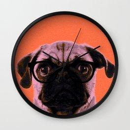 Geek Pug in Orange Background Wall Clock
