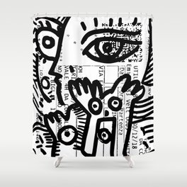 Street Art Graffiti Black and White on French Train Ticket Shower Curtain