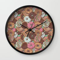 donuts Wall Clocks featuring Donuts by Mario Zucca