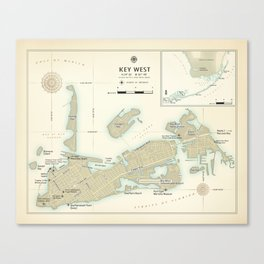 Key West [vintage inspired] Area Map Canvas Print