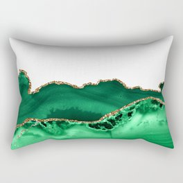 Emerald Green Malachite Agate gold Foil Rectangular Pillow