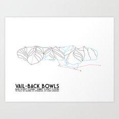 Vail, CO - Back Bowls - Minimalist Trail Art Art Print
