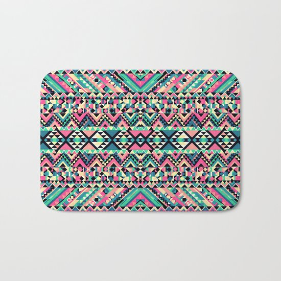Pink Turquoise Girly Aztec Andes Tribal Pattern Bath Mat