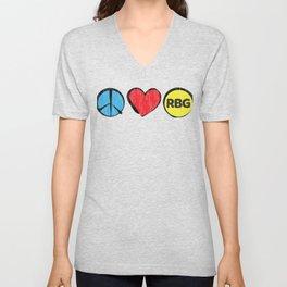 Ruth Bader Ginsburg - Peace, Love, RBG Unisex V-Neck