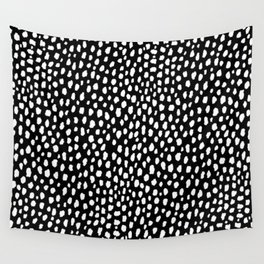 Handmade polka dot brush strokes (black and white reverse dalmatian) Wall Tapestry