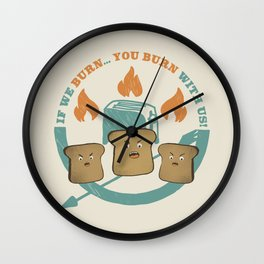 The Toast On Fire Wall Clock