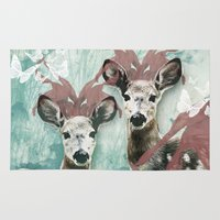fawn Area & Throw Rugs featuring majestic fawn by Vin Zzep