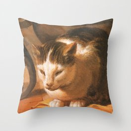 Cat in the art – Le brun – The sleep of the baby Jesus. Throw Pillow