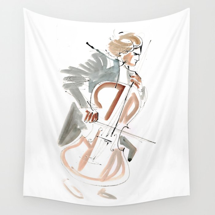 Cello Player Musician Expressive Drawing Wall Tapestry