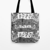 calligraphy Tote Bags featuring Calligraphy by Amy Gale