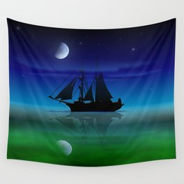 Sailing On A Sea of Green. Wall Tapestry