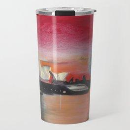 Australia. Landscape. Sidney. Tribe. Orange. Black. Gold. Travel Mug