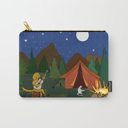 Golden retriever and cat camping  Carry-All Pouch