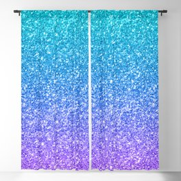 Purple and Emerald Green Gradient Glitter Print Blackout Curtain
