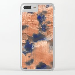 Peach Blue colorful watercolor design Clear iPhone Case