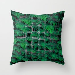 Fern Grid Plant Wall Throw Pillow