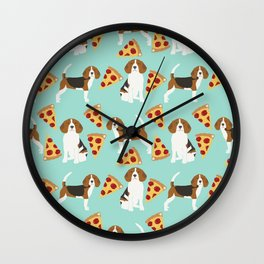 beagle pizza dog lover pet gifts cute beagles pure breeds Wall Clock