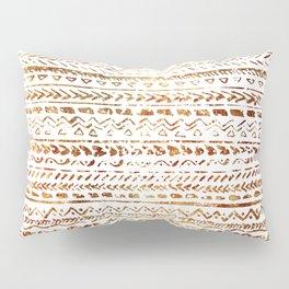 Stylish White Gold Tribal Ethnic Boho Pattern Pillow Sham