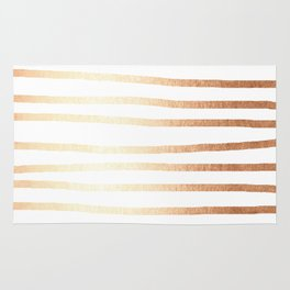 Simply Drawn Stripes Deep Bronze Amber Rug