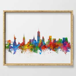 new york skyline watercolor Serving Tray