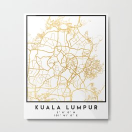 KUALA LUMPUR MALAYSIA CITY STREET MAP ART Metal Print