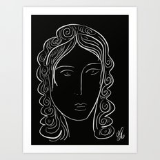 Black and white minimalist portrait Art Print