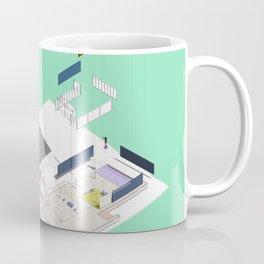 Exploded Barcelona drawing Minty Coffee Mug