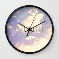 breathe Wall Clocks featuring Breathe by Rachel Burbee