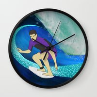 surfing Wall Clocks featuring Surfing  by Aquamarine Studio