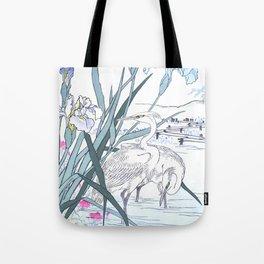 Kono Bairei - White Herons And Blue Iris Flowers - Vintage Japanese Woodblock Print Art Tote Bag