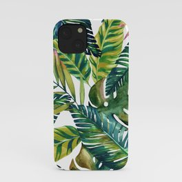 Tropical exotic banana leaves iPhone Case