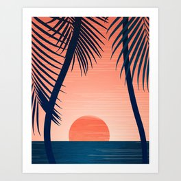 Sunset Palms - Peach Navy Palette Art Print